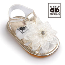 Load image into Gallery viewer, Lace Cream Flower Baby Pre-Walker Sandal (Gold) - BabyLand.my