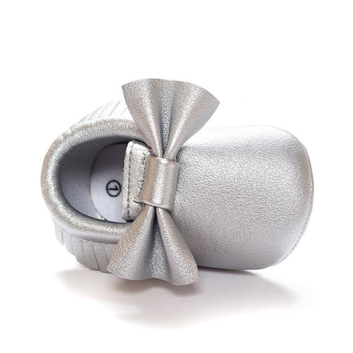 Big Bowties Pre-Walker Moccasin (Silver) - BabyLand.my