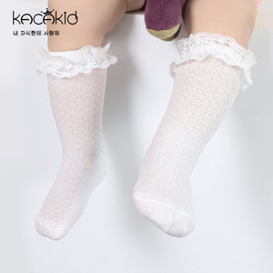 Kacakid Lace Mesh Embroidered Tube Socks (White) - BabyLand.my