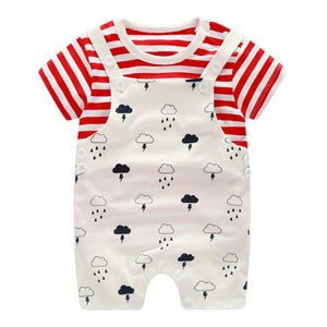 Thunder & Rainy Clouds Strappy Romper Set - BabyLand.my