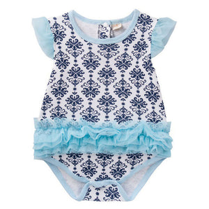 Augelute Bodysuit Dress (Blue Damask Prints) - BabyLand.my