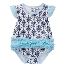 Load image into Gallery viewer, Augelute Bodysuit Dress (Blue Damask Prints) - BabyLand.my