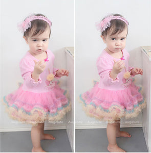 Augelute Candle Cupcake Tutu Bodysuit Dress - BabyLand.my
