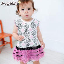 Load image into Gallery viewer, Augelute Damask Print Tutu Bodysuit Dress (Pink) - BabyLand.my