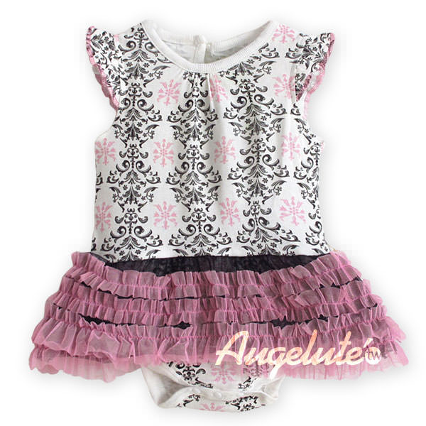 Augelute Damask Print Tutu Bodysuit Dress (Pink) - BabyLand.my