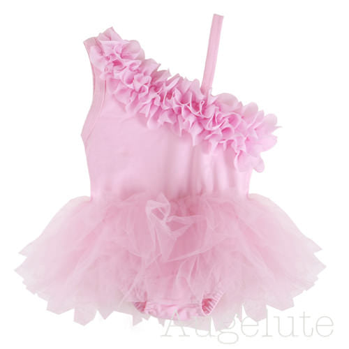 Augelute Gorgeous Princess Fluffy Oblique Sling Dress - BabyLand.my