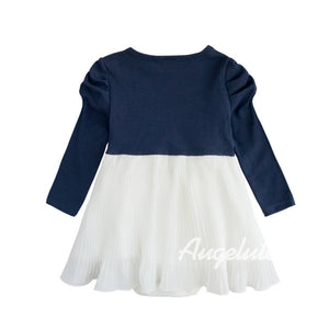 Augelute My Elegant Princess Pleated Bodysuit Dress (Blue) - BabyLand.my