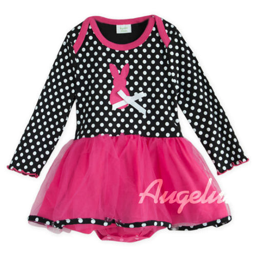 Augelute Polka Emo Bunny Bodysuit Dress - BabyLand.my