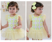 Load image into Gallery viewer, Augelute Sequined Flowers Bodysuit Dress (Yellow) - BabyLand.my