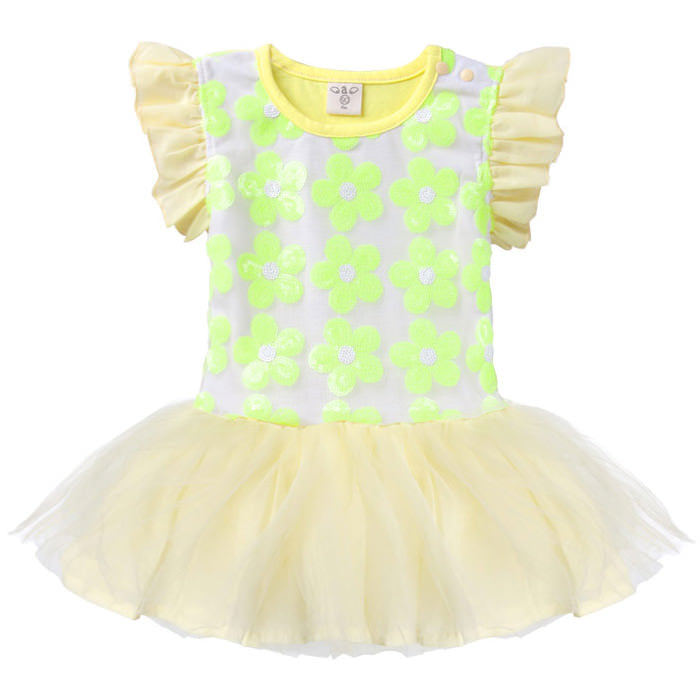Augelute Sequined Flowers Bodysuit Dress (Yellow) - BabyLand.my