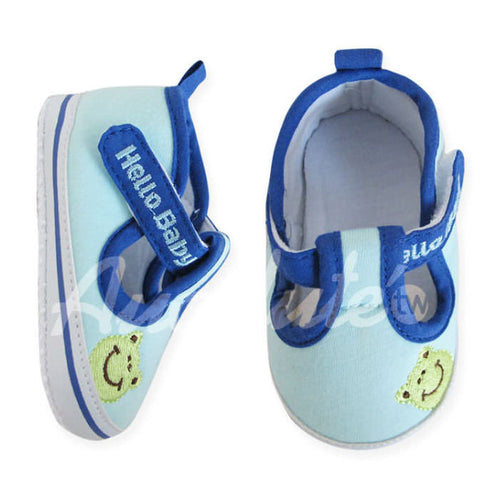 "Augelute Smiley Frog ""Hello Baby"" Pre-Walker Shoes, Blue - BabyLand.my"