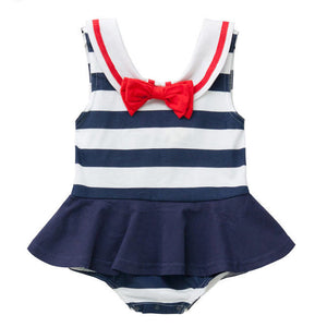 Augelute The Sweet Navy Bodysuit Dress - BabyLand.my