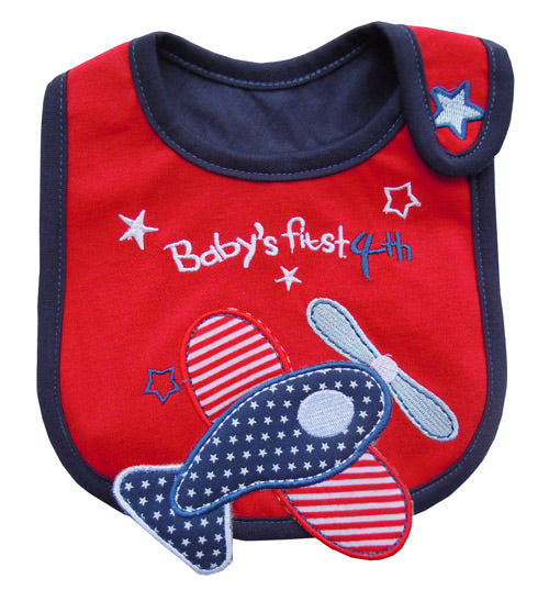 MomsCare Baby's First 4th Bib, Red - BabyLand.my