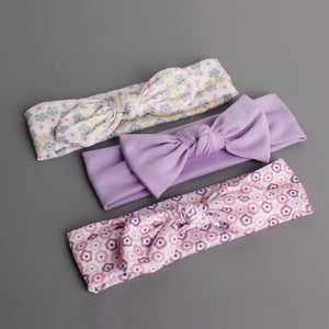 Bow-Knot 3-in-1 Headband Set (Tiny Floral Purple Series) - BabyLand.my