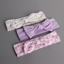 Load image into Gallery viewer, Bow-Knot 3-in-1 Headband Set (Tiny Floral Purple Series) - BabyLand.my