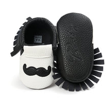 Load image into Gallery viewer, Moustache Fringe Pre-Walker Moccasin (White Moustache) - BabyLand.my