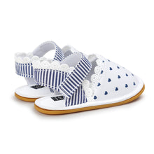 Load image into Gallery viewer, Navy Hearts In White Pre-Walker Sandal - BabyLand.my