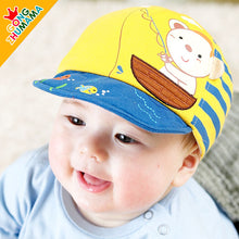 Load image into Gallery viewer, GZMM Fishing Bear Flanging Baby Cap - BabyLand.my
