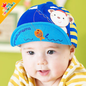 GZMM Fishing Bear Flanging Baby Cap - BabyLand.my