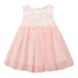 SIMYKE Floral Embroidery Chiffon Dress (Pink) - BabyLand.my