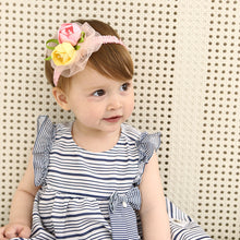 Load image into Gallery viewer, Beautiful Pink & Yellow Roses Under Lace Headband - BabyLand.my