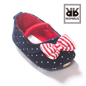 Navy Polka-Dots Bow-Knot Pre-Walker Shoe - BabyLand.my