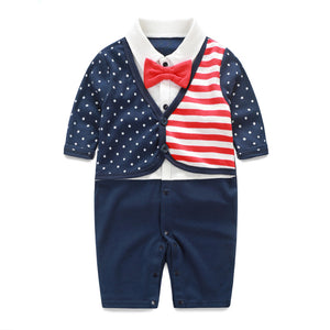 Red Bow-Tie Polka Suit Romper - BabyLand.my