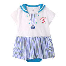 Load image into Gallery viewer, Augelute V-Neck Sailor Girl Bodysuit Dress (Blue) - BabyLand.my