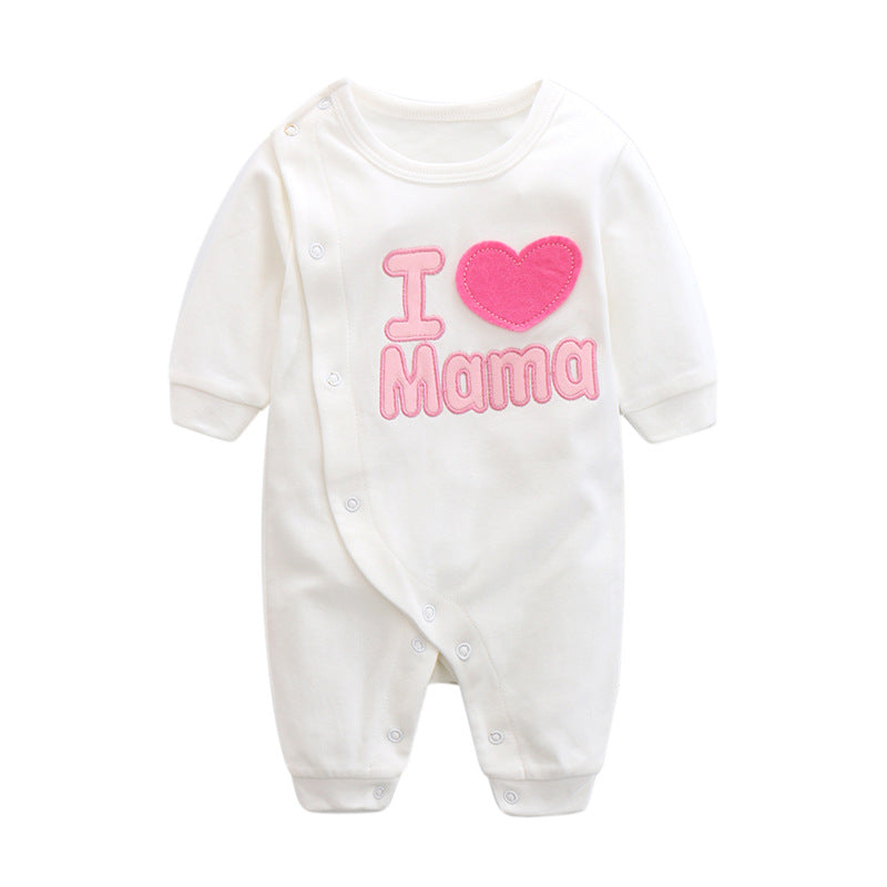I Love MAMA Embroidery Romper Series (Pink Wording) - BabyLand.my