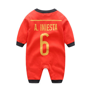 First Movements Red Soccer No. 6 Romper - BabyLand.my