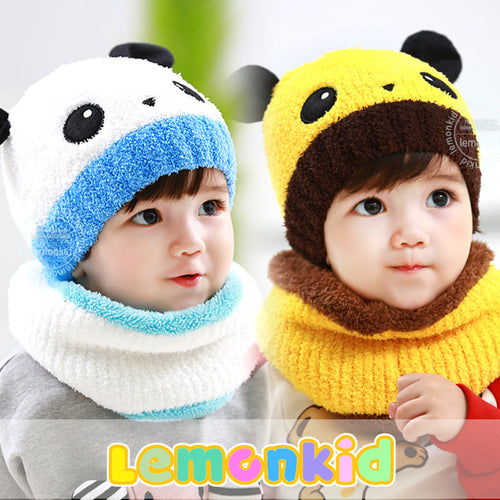 Lemonkid Cute Panda Hat with Scarf - BabyLand.my