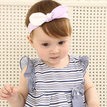 Load image into Gallery viewer, White Twisted Purple Cotton Bow-Knot Headband - BabyLand.my