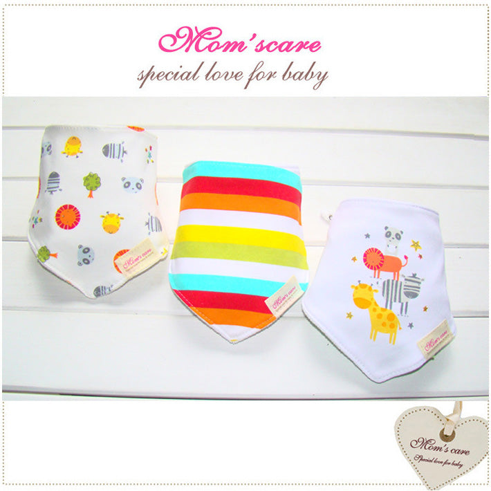 MomsCare Triangular Series Teething Bibs (Rainbow Zoo) - BabyLand.my