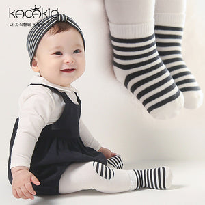 Kacakid 2-in-1 Leggings & Socks Set (Black Striped) - BabyLand.my