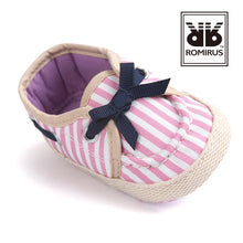 Load image into Gallery viewer, Bow-Knot Shoelace Pre-Walker Shoe (Pink Stripes) - BabyLand.my