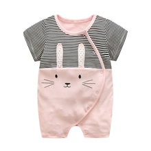 Load image into Gallery viewer, First Movements Pink Bunny Black Striped Romper - BabyLand.my