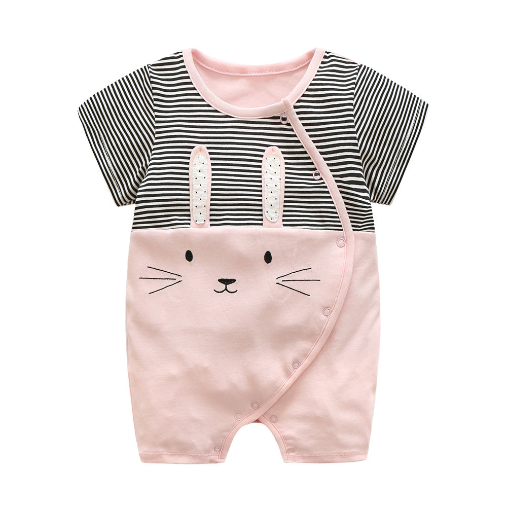 First Movements Pink Bunny Black Striped Romper - BabyLand.my