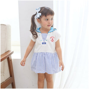 Augelute V-Neck Sailor Girl Bodysuit Dress (Blue) - BabyLand.my