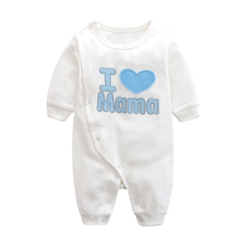 I Love MAMA Embroidery Romper Series (Blue Wording) - BabyLand.my