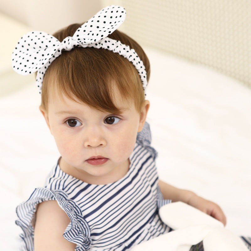 Black Dot In White Bow-Knot Headband - BabyLand.my
