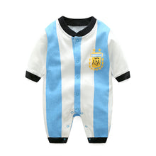Load image into Gallery viewer, First Movements Blue Striped Soccer Romper - BabyLand.my