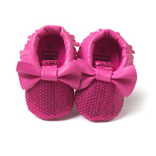 Load image into Gallery viewer, Bowties & Sequins Pre-Walker Moccasin (Plum Red) - BabyLand.my