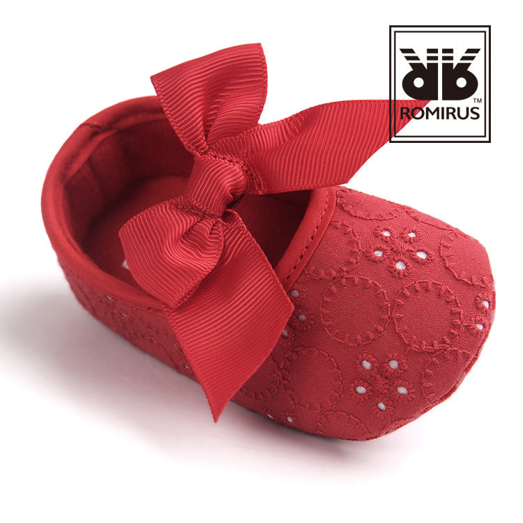 Bowties vs Flower Lace Pre-Walker Shoe (Red) - BabyLand.my