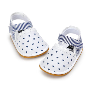 Navy Hearts In White Pre-Walker Sandal - BabyLand.my