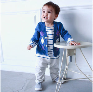 Augelute Striped Casual Boy Romper - BabyLand.my
