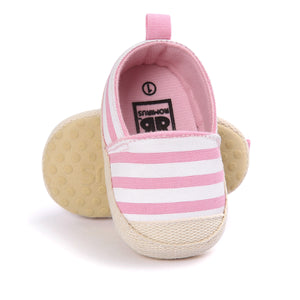 Classic Striped Canvas Pre-Walker Shoe (Pink) - BabyLand.my