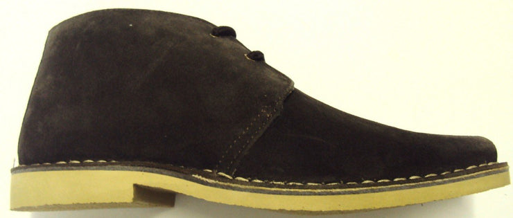 Roamers Brown 2 Eyelet Sharp Toe Retro Mod Style Real Suede Desert Boots