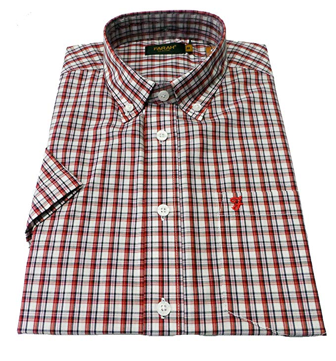 Farah Birket Red Retro Classic Checked Short Sleeved Shirts …