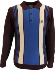 Gabicci Vintage Oxblood/Riviera/Oatmeal Multi Stripe Knitted Polo