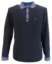Gabicci Vintage Mens Navy Cable Front Knitted Polo Shirt